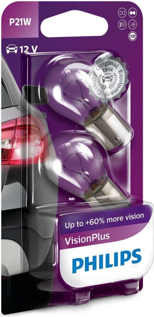 Philips VisionPlus 12498VPB2 P21W BA15s 21W